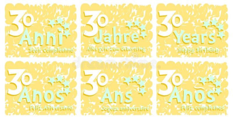 Favori Insieme Della Cartolina D'auguri Di Compleanno Per 30 Anni  NB07