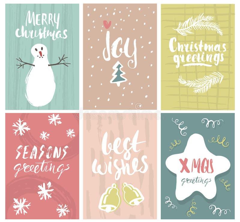 Insieme della cartolina d'auguri sveglia di feste con gli elementi e le forme disegnati a mano Natale scritto a mano unico che se illustrazione vettoriale