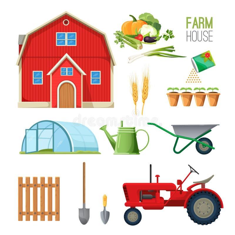 Insieme della casa dell'azienda agricola di attrezzatura per gli impianti ed il granaio rurali royalty illustrazione gratis