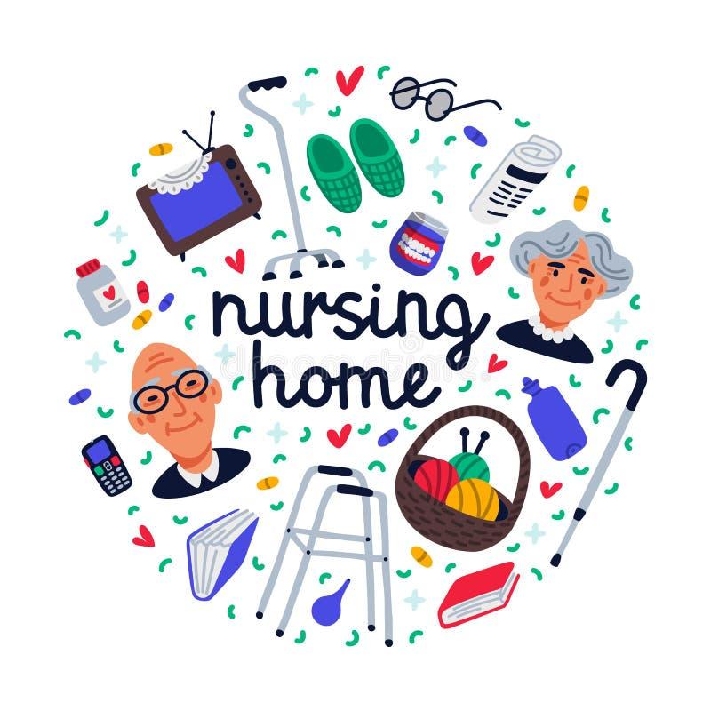 Insieme della casa di cura Oggetti senior e della gente di casa di cura su fondo bianco, concetto di assistenza medica Gente seni royalty illustrazione gratis