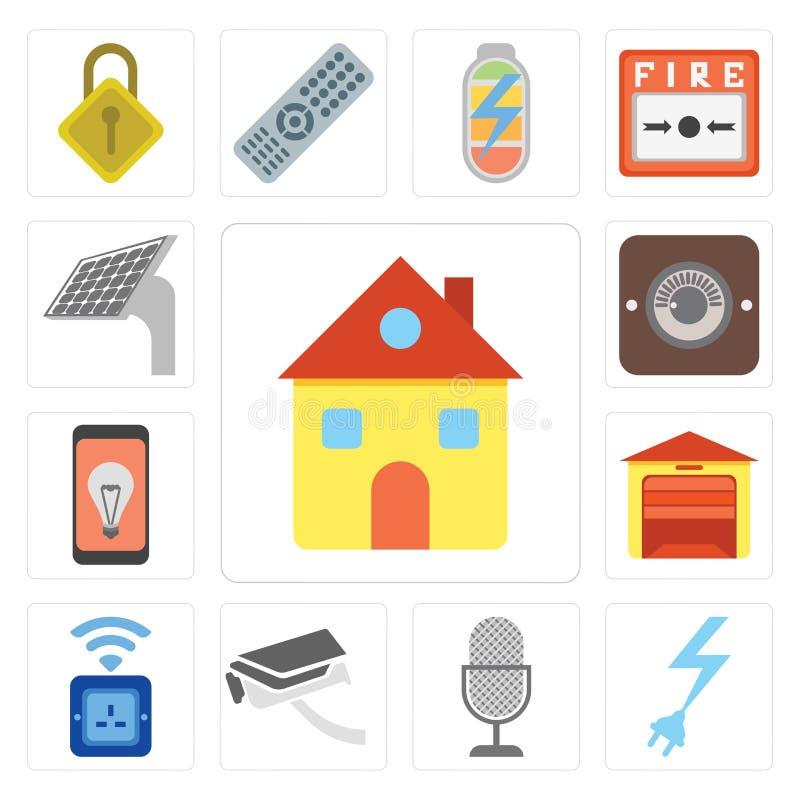 Insieme della casa, potere, controllo di voce, videocamera di sicurezza, incavo, Gara illustrazione vettoriale