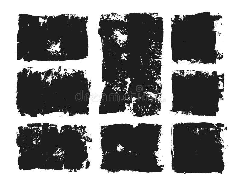 Insieme della casella di testo rettangolare Banda della pittura di lerciume Colpo della spazzola di vettore Raccolta del pennello royalty illustrazione gratis