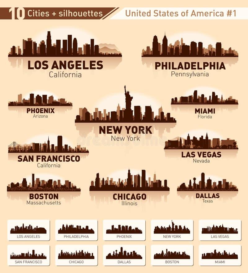 Insieme della città dell'orizzonte. 10 città degli S.U.A. #1 illustrazione di stock
