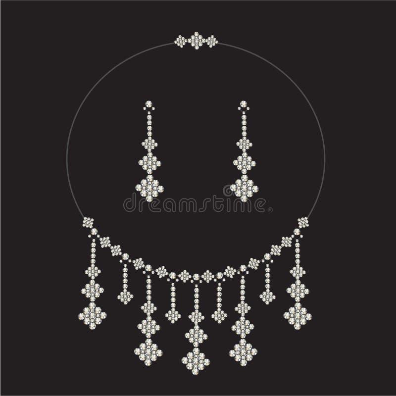 Insieme della collana di diamante dell'annata, monili illustrazione di stock