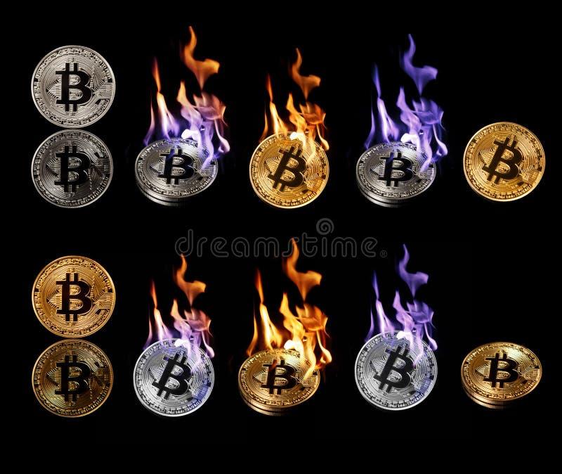 Insieme della combustione nel bitcoin del fuoco isolato sul nero fotografie stock libere da diritti