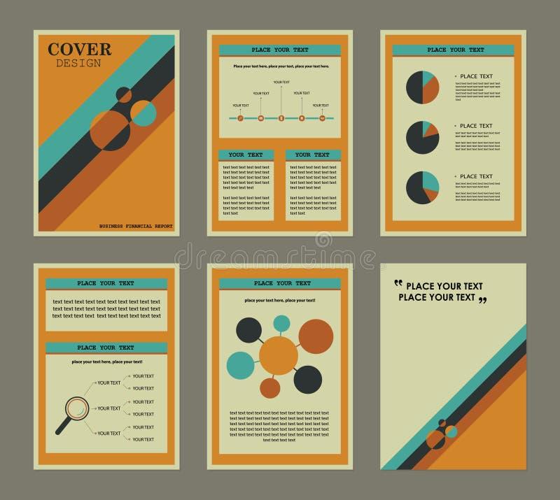 Insieme della copertina e della pagina di libro finanziarie di rapporto di affari illustrazione vettoriale