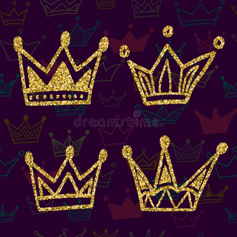 Insieme della corona dell'oro isolato su fondo scuro con il modello senza cuciture Scintilli fissati delle corone di re Illustraz illustrazione di stock