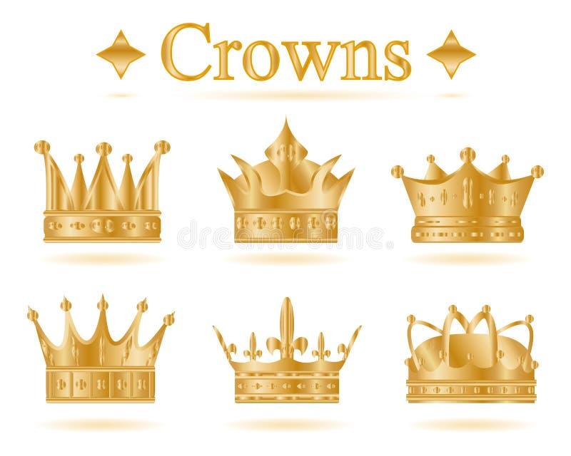 Insieme della corona di re dell'oro Illustrazione di vettore illustrazione di stock