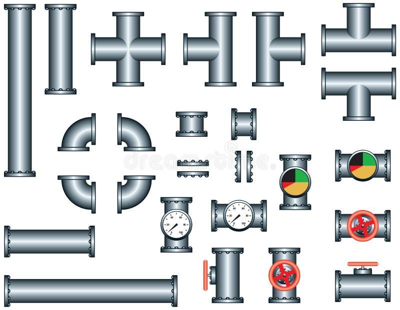 Insieme della costruzione del tubo dell'impianto idraulico illustrazione vettoriale
