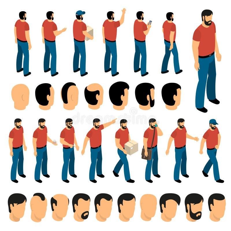 Insieme della creazione dei caratteri dell'uomo illustrazione vettoriale