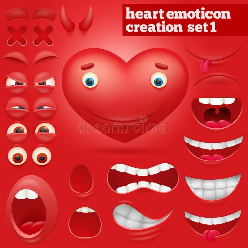 Insieme della creazione del carattere dell'emoticon del cuore del fumetto royalty illustrazione gratis