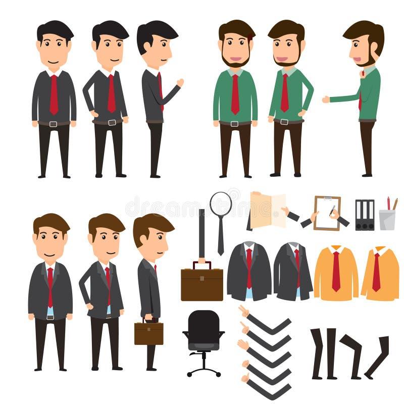 Insieme della creazione del carattere dell'uomo d'affari in varia posa Raggiro di affari illustrazione vettoriale