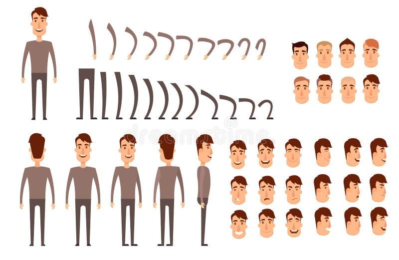 Insieme della creazione del carattere dell'uomo Icone con differenti tipi di fronti, emozioni, vestiti Parte anteriore, lato, pun royalty illustrazione gratis