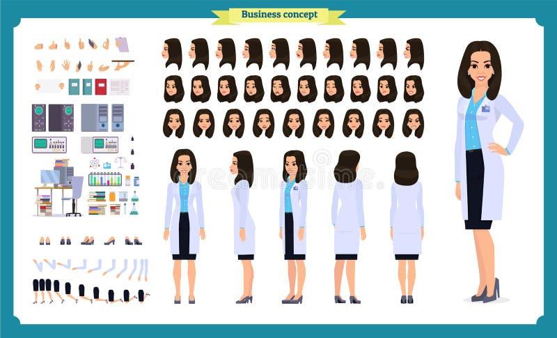 Insieme della creazione del carattere dello scienziato La donna lavora nel laboratorio di scienza agli esperimenti Viste integral illustrazione di stock