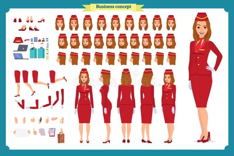 Insieme della creazione del carattere della donna L'hostess, sorvegliante di volo Icone con differenti tipi di fronti e di stili  illustrazione vettoriale