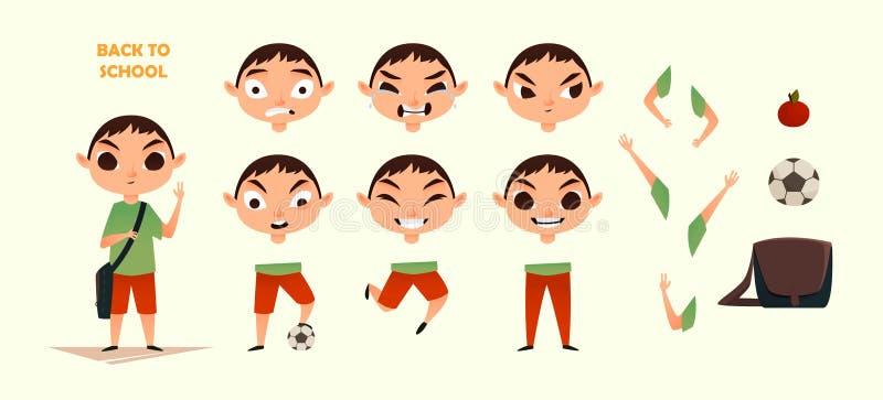 Insieme della creazione del carattere Emozioni e gesti differenti Illustrazione stile piana del fumetto Sviluppi la vostra propri immagine stock libera da diritti
