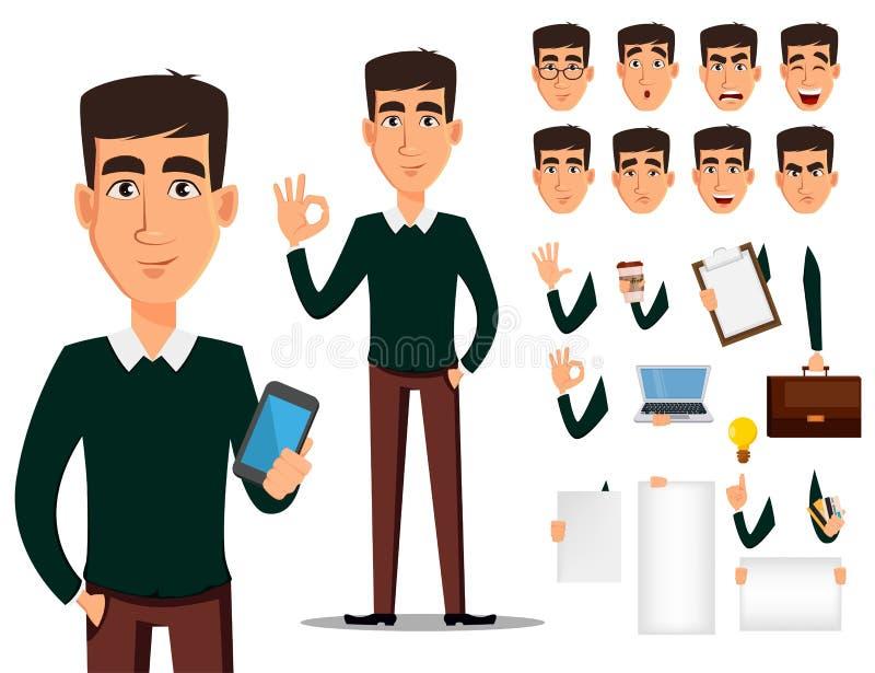 Insieme della creazione del personaggio dei cartoni animati dell'uomo di affari illustrazione vettoriale