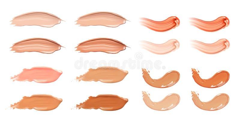 Insieme della crema liquida cosmetica del caramello o del fondamento nei colpi differenti della sbavatura della macchia di colore illustrazione vettoriale