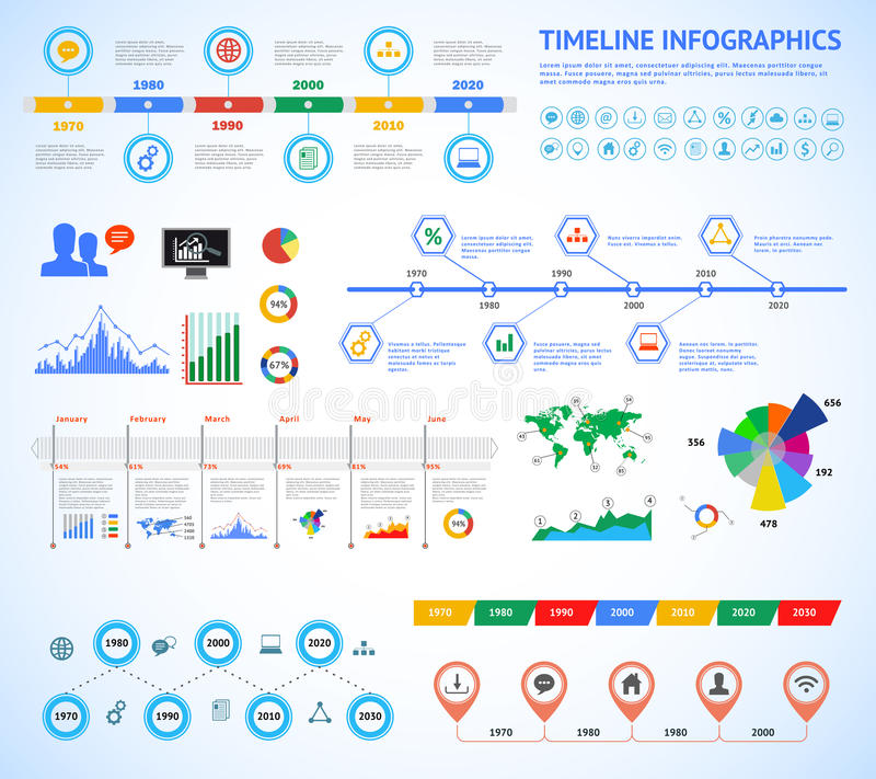Insieme della cronologia Infographic con i diagrammi ed il testo Vector l'illustrazione di concetto per la presentazione di affar illustrazione vettoriale