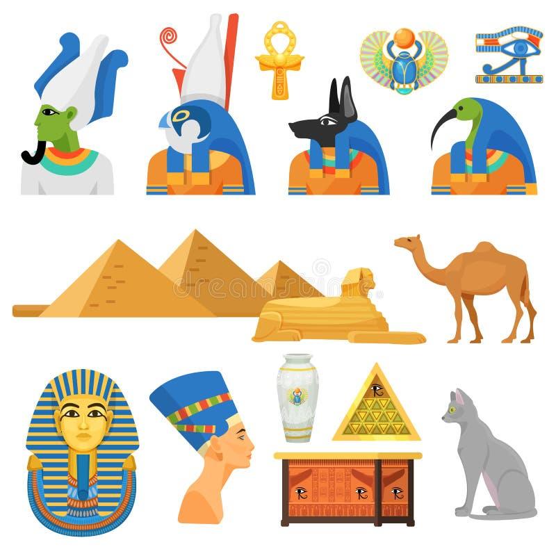 Insieme della cultura dell'Egitto Dei, animali sacri, monumento architettonico internazionale royalty illustrazione gratis