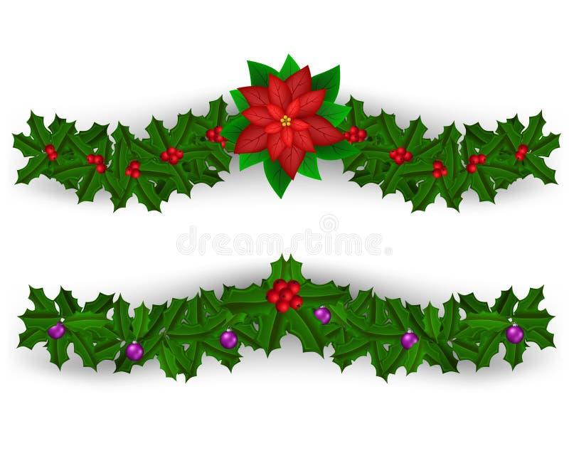 Insieme della decorazione del confine di Natale illustrazione vettoriale