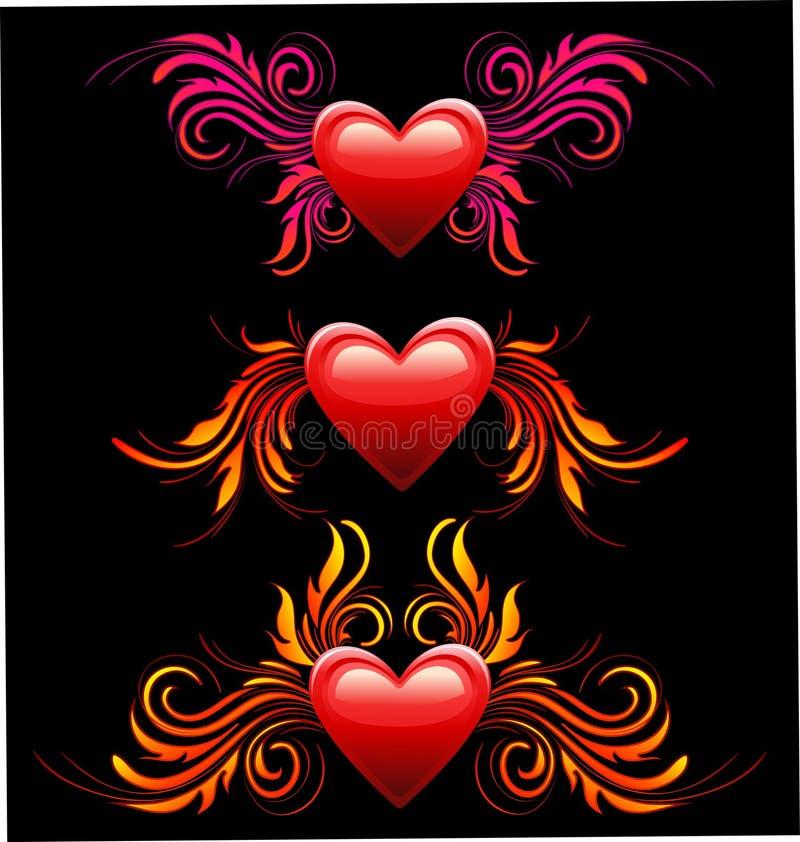 Insieme della decorazione del cuore illustrazione di stock
