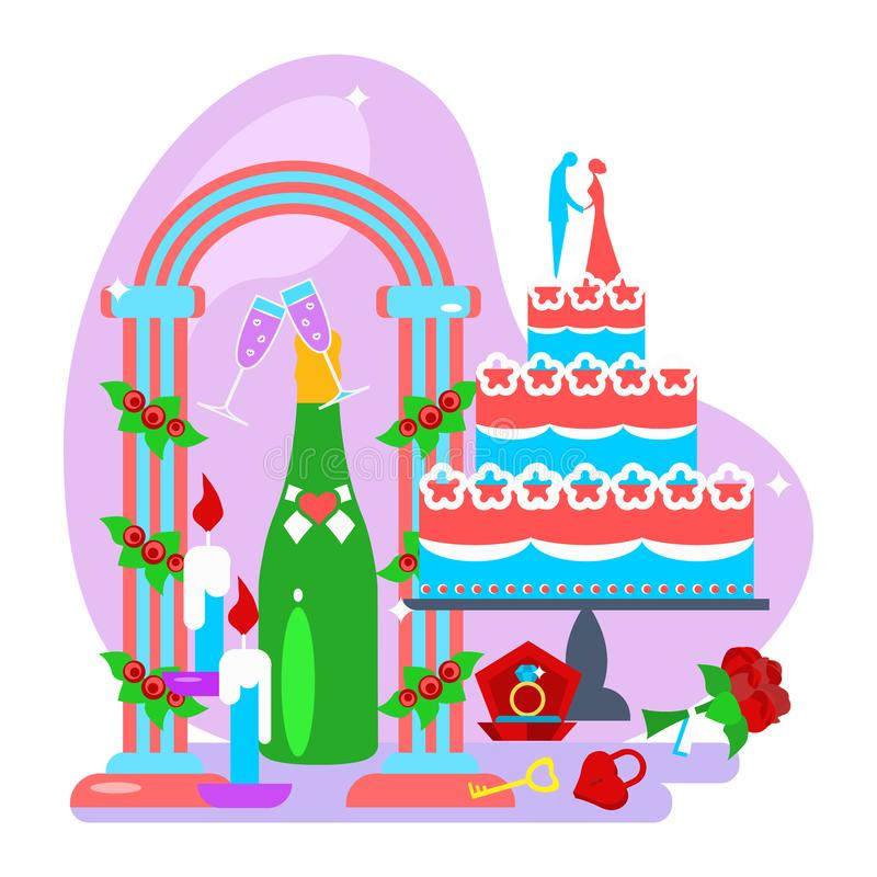 Insieme della decorazione di nozze illustrazione di stock