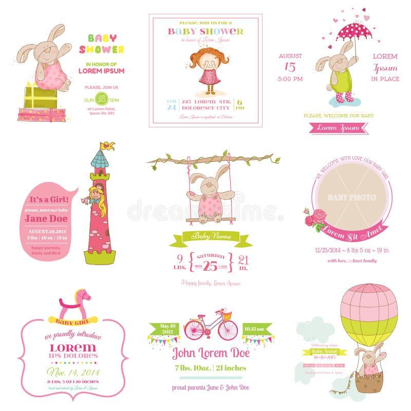 Insieme della doccia di bambino e delle carte di arrivo royalty illustrazione gratis