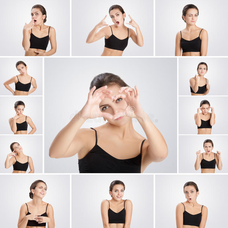 Insieme della donna dei ritratti con differenti emozioni e gesti fotografie stock