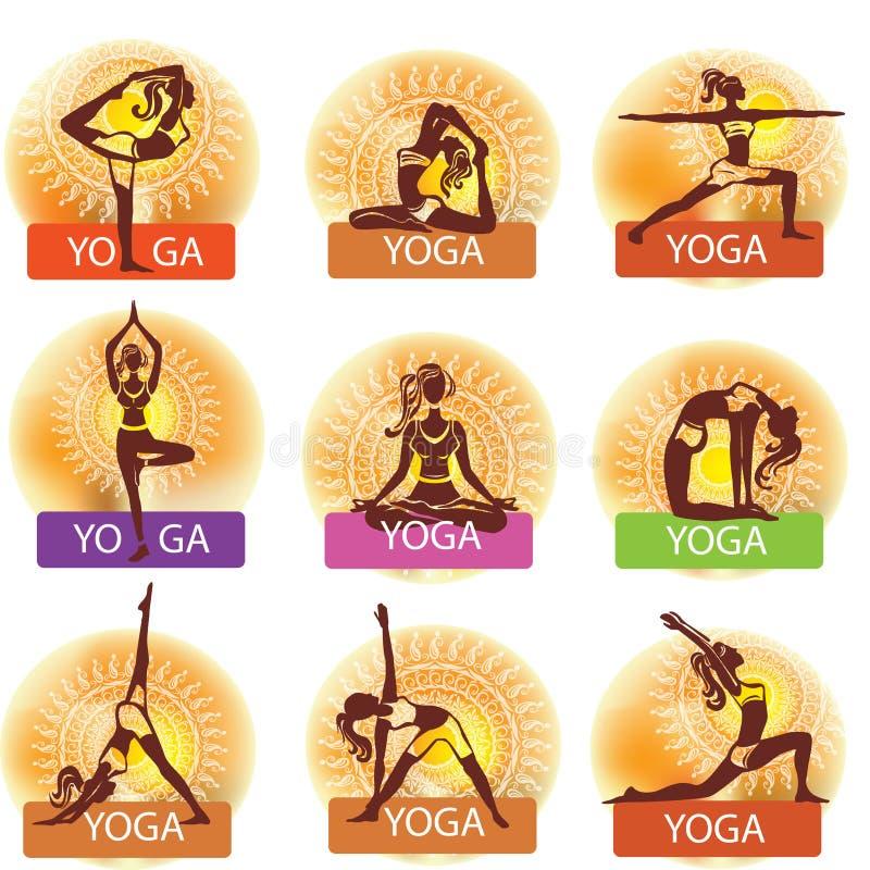 Insieme della donna nel fare le pose di yoga illustrazione vettoriale