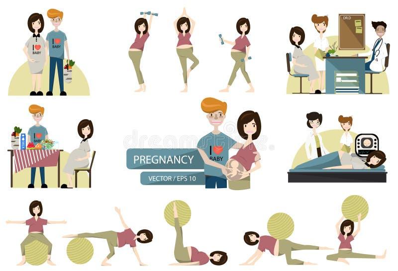 Insieme della famiglia incinta Vettore Illustrazione illustrazione di stock