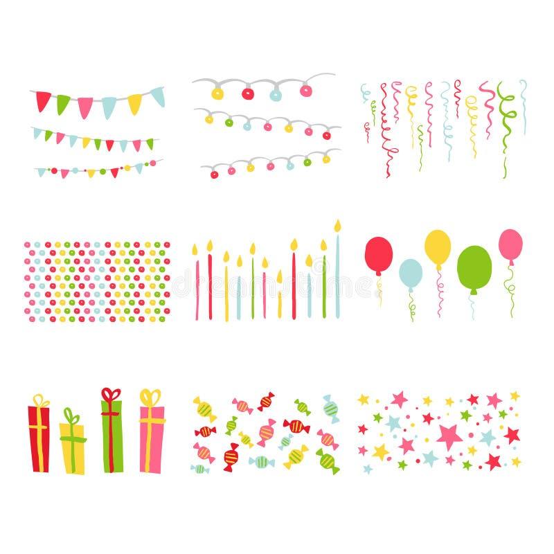Insieme della festa di compleanno degli elementi di progettazione dell'album per ritagli illustrazione di stock