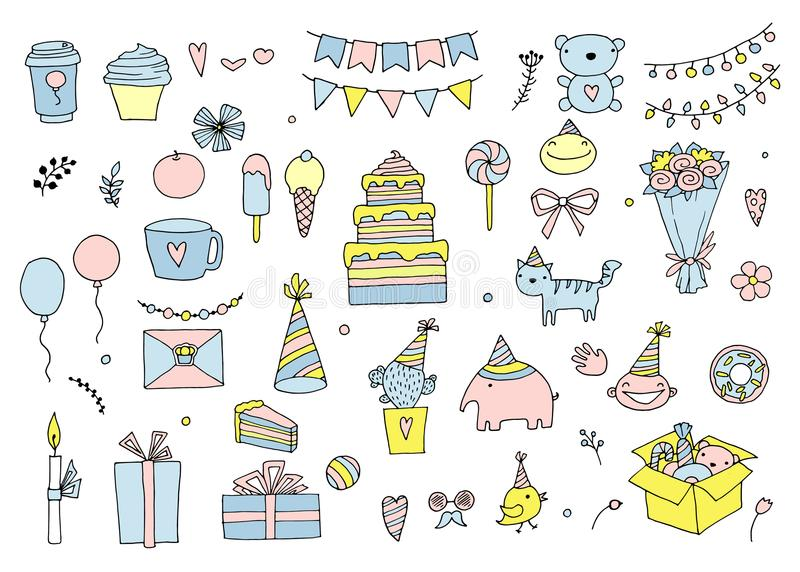 Insieme della festa di compleanno nello stile di scarabocchio isolata su fondo bianco royalty illustrazione gratis