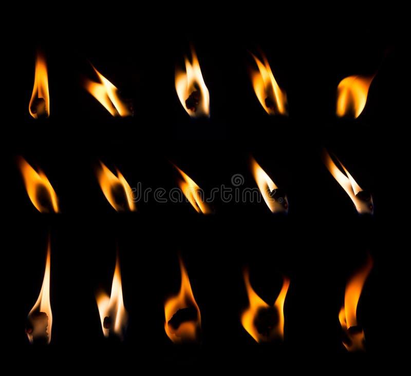 Insieme della fiamma di candela immagine stock