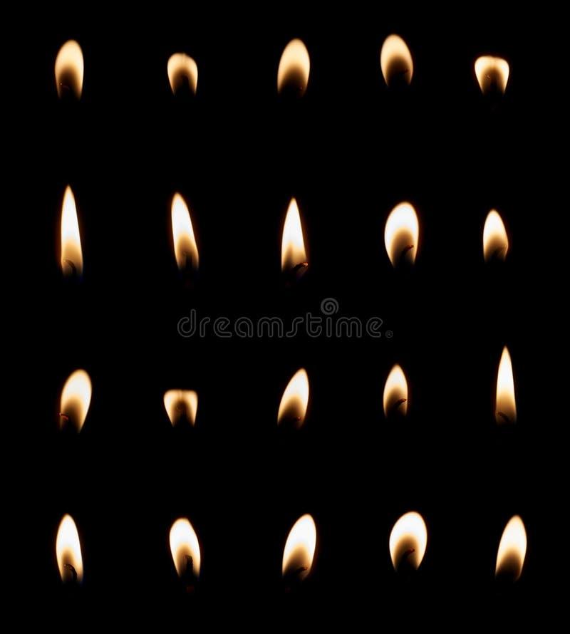 Insieme della fiamma di candela isolato fotografia stock libera da diritti