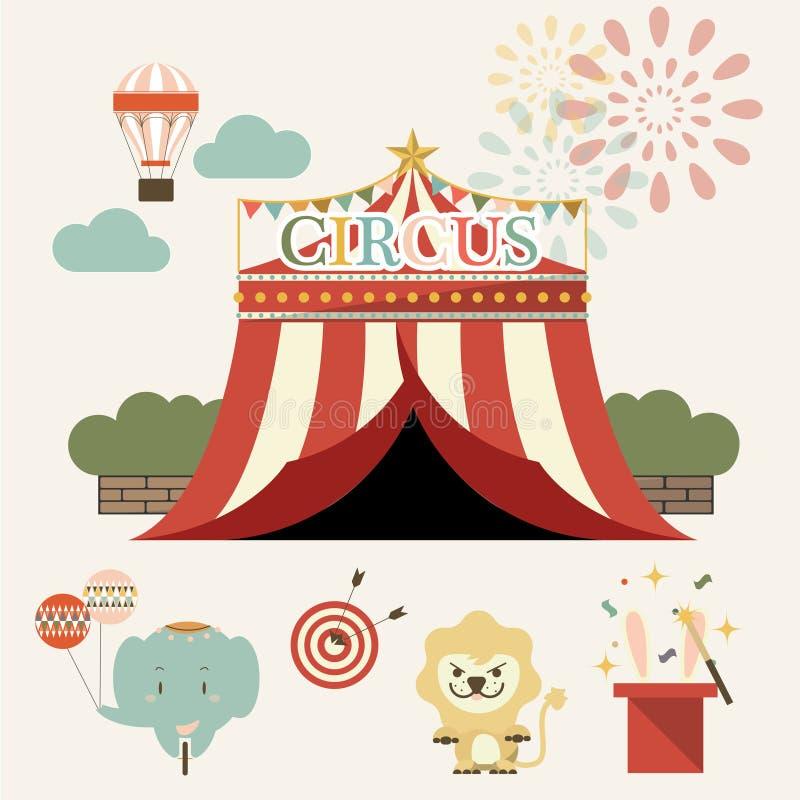 Insieme della fiera paesana, parco di divertimenti, circo Vettore illustrazione di stock