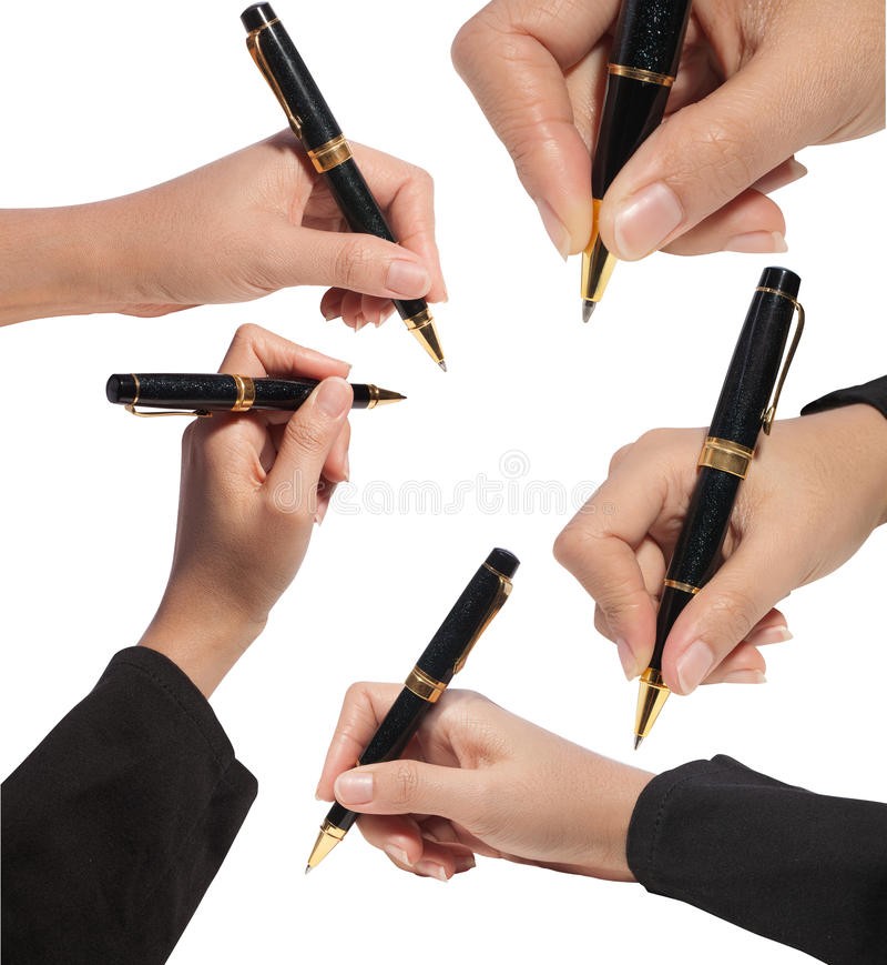 Insieme della fine sulla stretta della mano una penna con il percorso di residuo della potatura meccanica fotografie stock libere da diritti