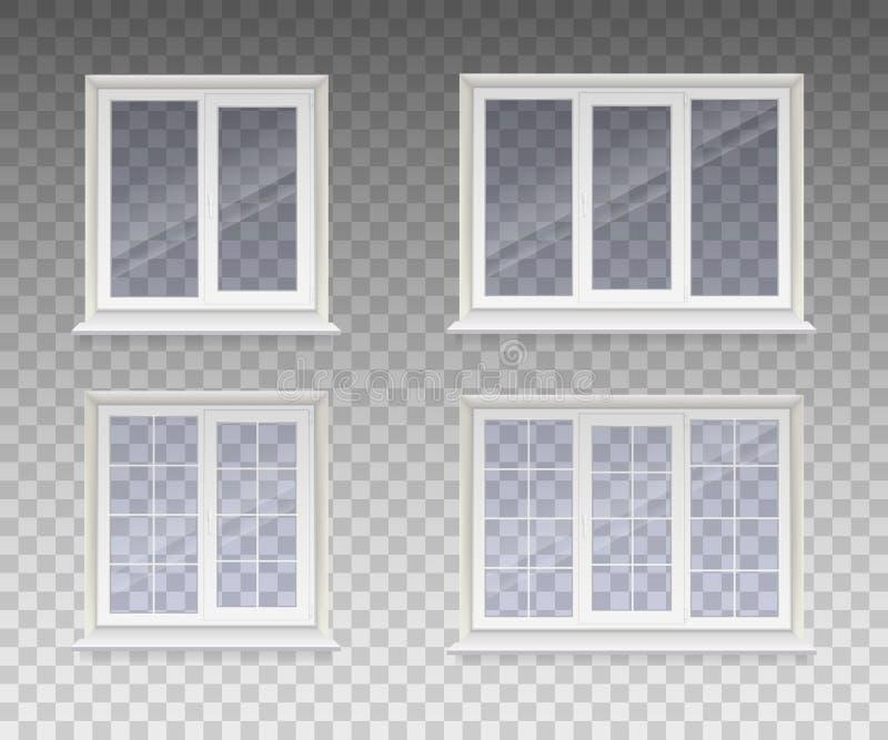 Insieme della finestra chiusa con vetro trasparente nel telaio bianco isolato su un fondo trasparente Vettore illustrazione vettoriale