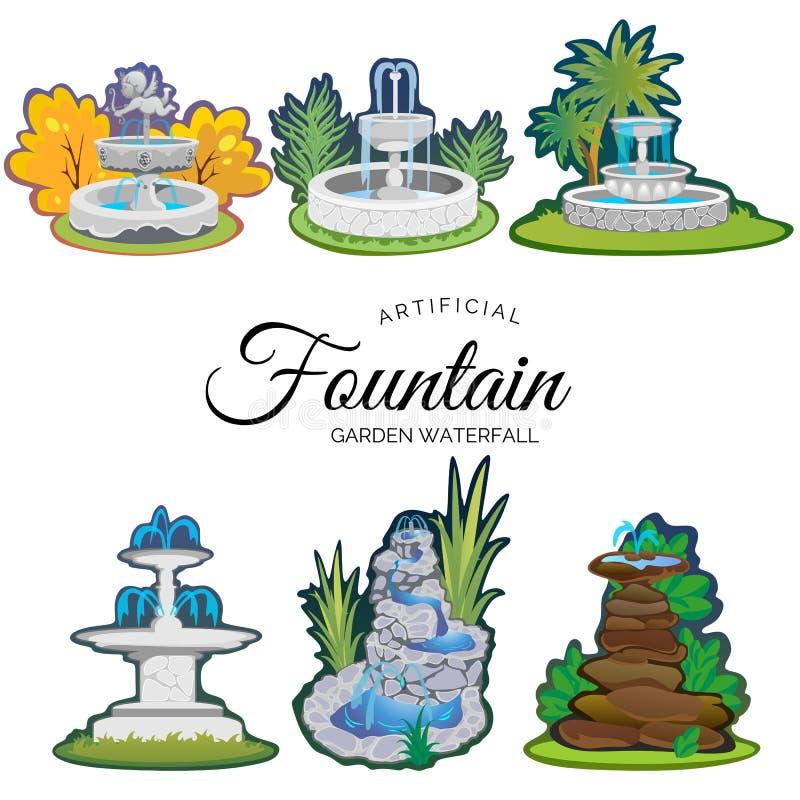 Insieme della fontana di aria aperta per fare il giardinaggio illustrazione di stock