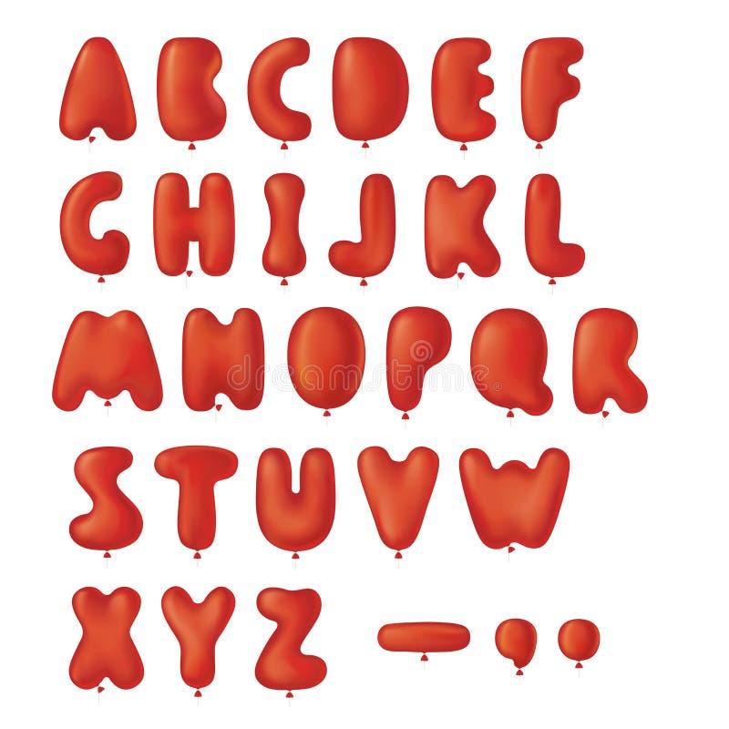 Insieme della fonte tipografica degli aerostati illustrazione di stock