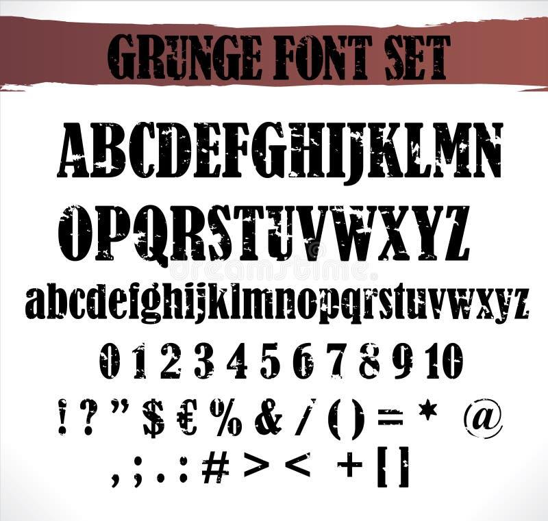 Insieme della fonte tipografica di Grunge royalty illustrazione gratis