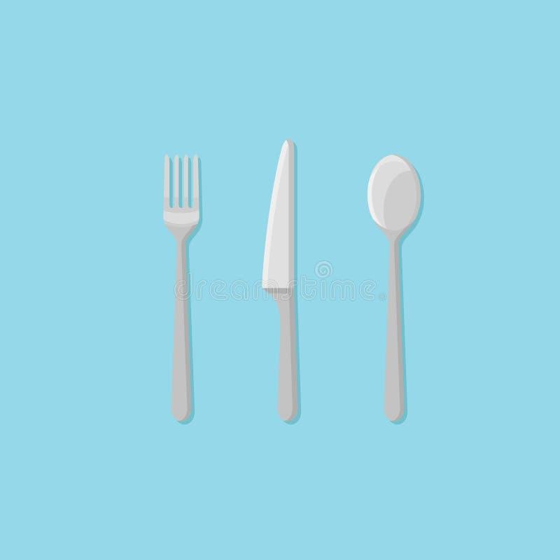 Insieme della forchetta, del cucchiaio e del coltello Icona piana di stile della coltelleria Illustrazione di vettore royalty illustrazione gratis