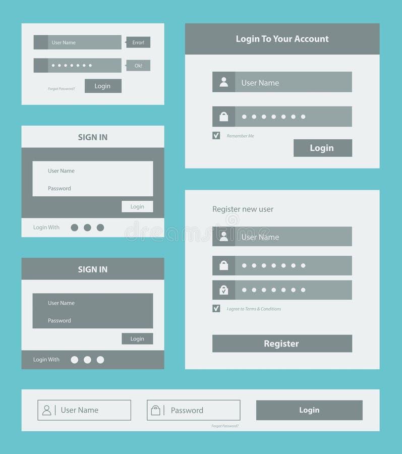 Insieme della forma dell'interfaccia utente illustrazione di stock