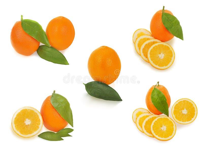 Insieme della frutta arancio matura fresca con il isolat delle foglie di verde e del taglio fotografia stock libera da diritti