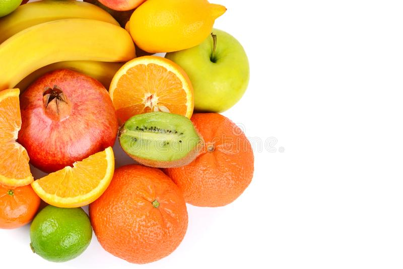 Insieme della frutta isolata su fondo bianco Alimento sano Vista superiore Spazio libero per testo immagini stock