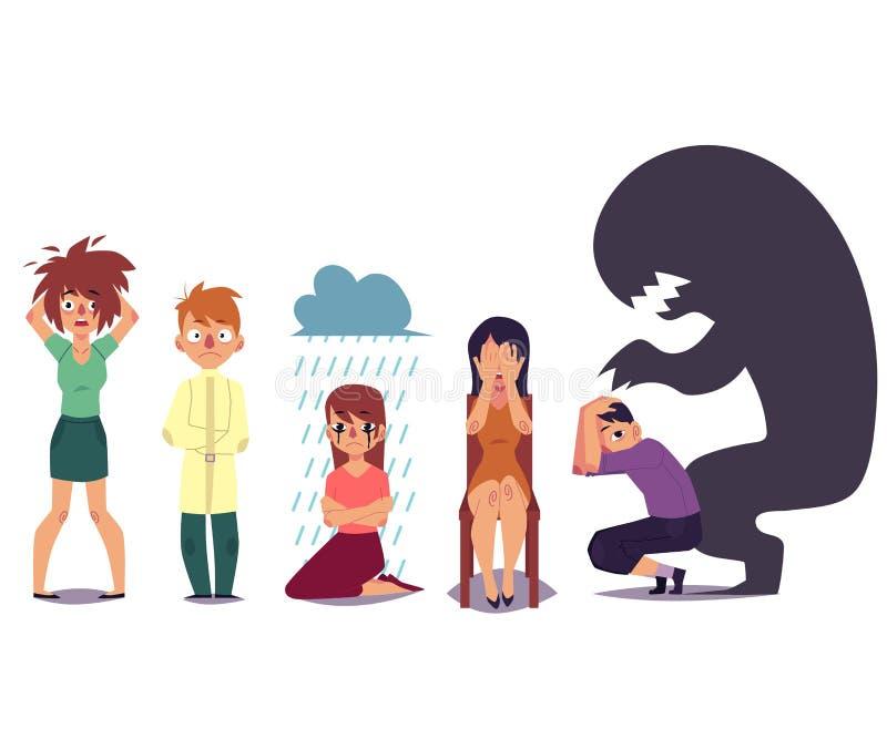 Insieme della gente che soffre dai disturbi mentali illustrazione di stock