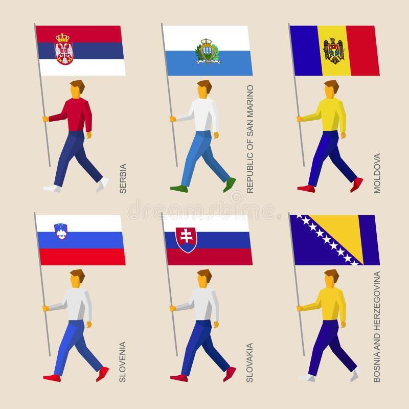 Insieme della gente con le bandiere dei paesi in Europa centrale illustrazione vettoriale