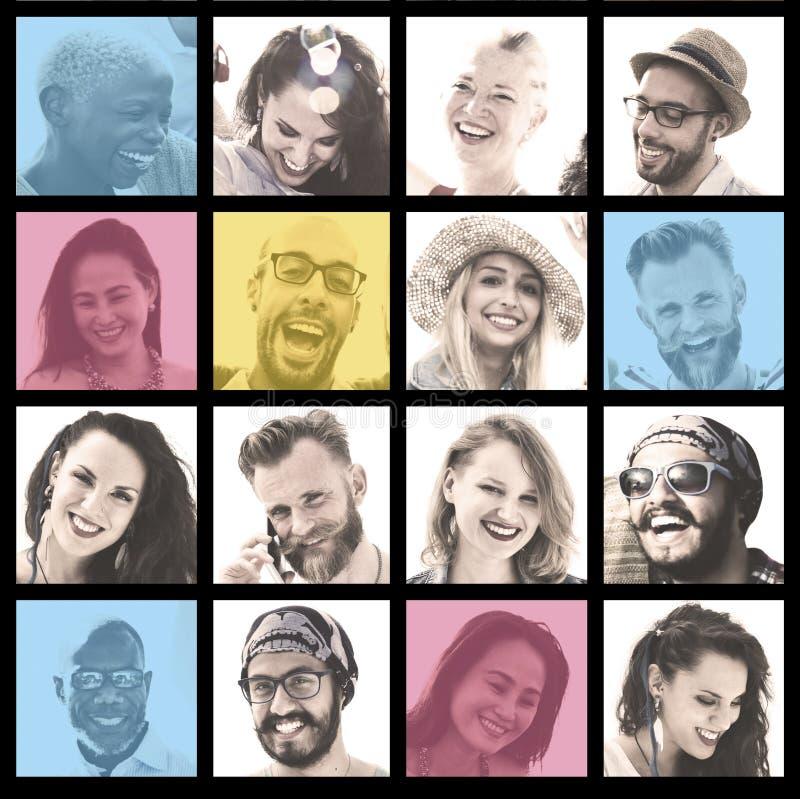Insieme della gente del concetto del viso umano di diversità dei fronti immagine stock libera da diritti