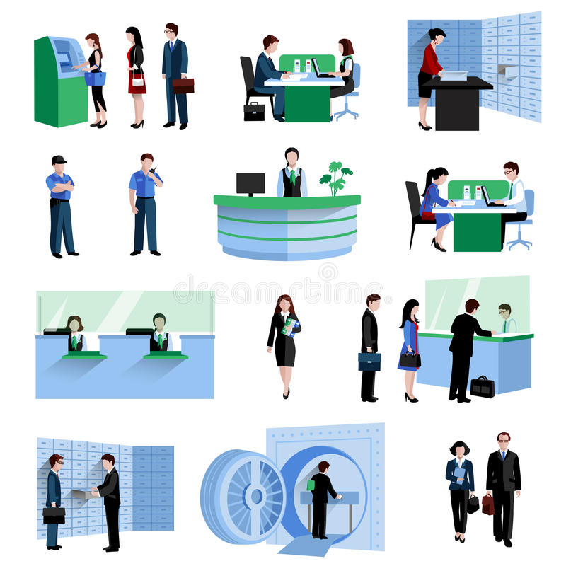 Insieme della gente della Banca royalty illustrazione gratis