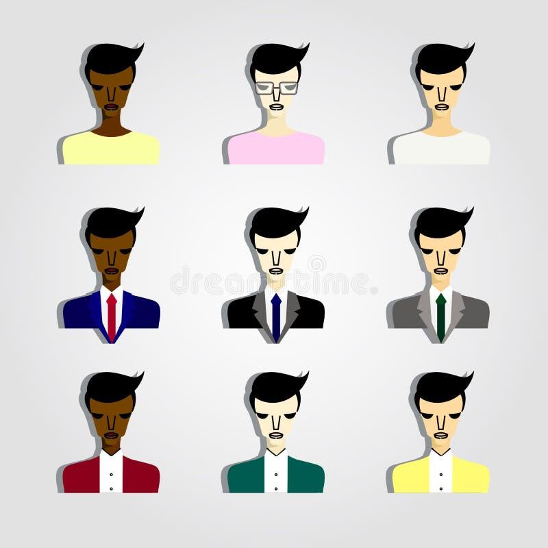Insieme della gente di affari delle icone illustrazione di stock